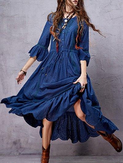 Vestido A Media Pierna Inserción Del Cordón Deshilachado - Azul