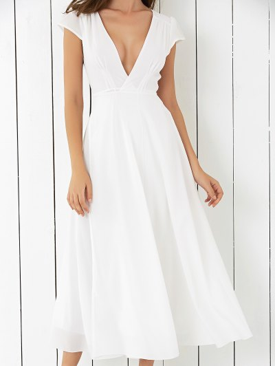 Low Cut High Slit Midi Dress - WHITE S Mobile