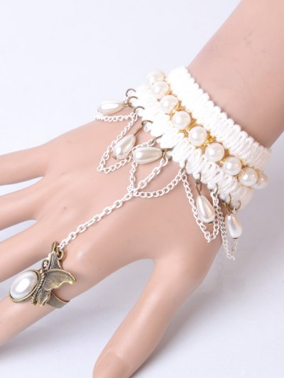 Artificial Pearl Butterfly Bracelet With Ring - WHITE  Mobile
