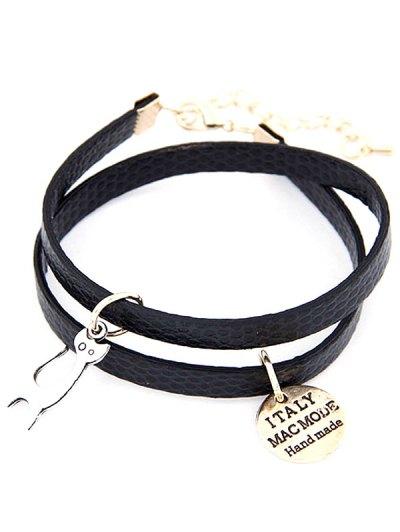 Cat Faux Leather Wrap Bracelet - BLACK  Mobile