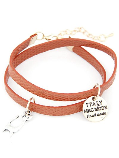 Cat Faux Leather Wrap Bracelet - RED BROWN  Mobile