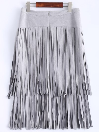 Faux Suede Fringed Flapper Skirt - GRAY S Mobile