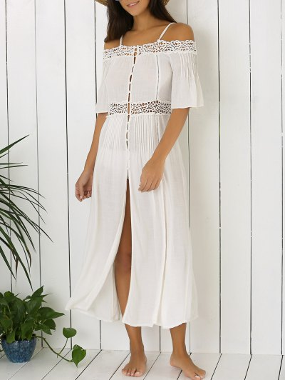 Front Slit Hollow Out Cami Dress