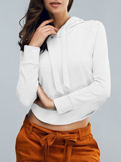 Cropped Hooded Long Sleeve Pullover Hoodie - WHITE S Mobile