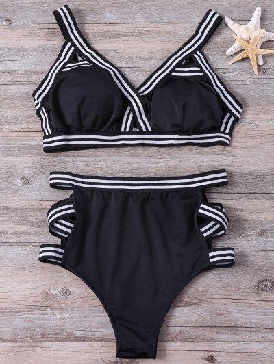 Con Bandas De Gran Altura Set Bikini - Negro