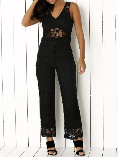 Solid Color Plunging Neck Sleeveless Lace Jumpsuit - BLACK L Mobile