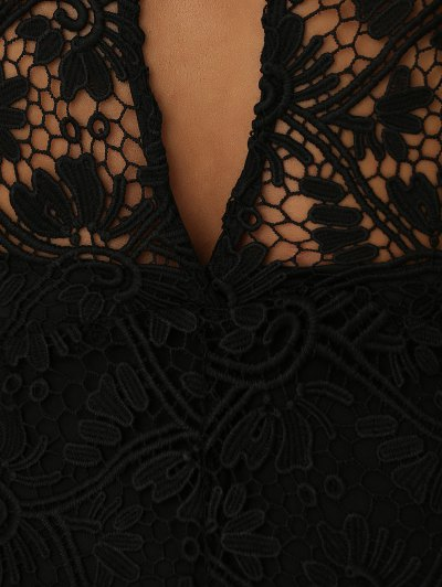Solid Color Plunging Neck Sleeveless Lace Jumpsuit - BLACK M Mobile