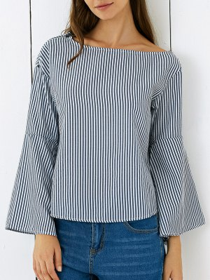 One Shoulder Striped Flare Sleeve Blouse - Blue