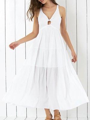 Cross Back Tiered Empire Waist Dresses - White