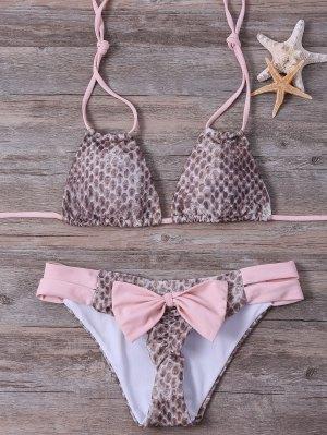 Halter Snakeskin Printed Bikini Set - Pink