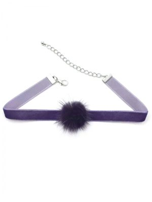 Little Pom Pom Choker Necklace - Deep Purple