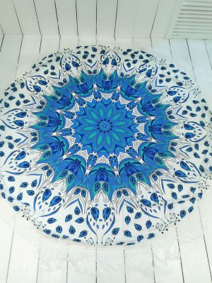 Printed Round Shape Tassels Convertible Beach Throw - Blue And White