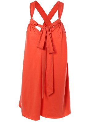 Halter Cross Back Cami Shift Dress - Red