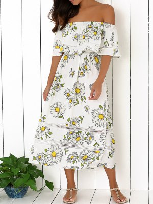 Floral Off The Shoulder Ruffles Midi Dress - White