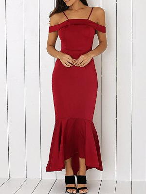 Cold Shoulder Mermaid Maxi Sexy Prom Dress - Wine Red