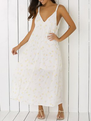Low Cut Tiny Floral Backless Maxi Dress - White