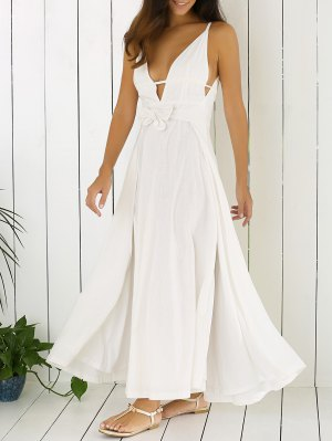 White Cami Plunging Neck Maxi Dress - White
