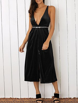 Plunging Neck Velvet Dress - Black