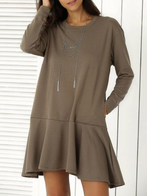 Solid Color Ruffle Hem Sweatshirt Dress - Army Green