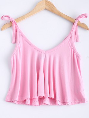 V Neck Self Tie Tank Top - Pink
