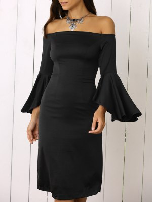 Dramatic Sleeve Off The Shoulder Sheath Dress - Black