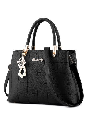 Plaid Pattern PU Leather Metal Tote Bag - Black