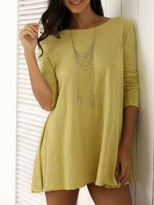 U Neck Long Sleeve Solid Color T-Shirt - Yellow