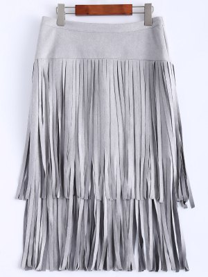 Faux Suede Fringed Flapper Skirt - Gray