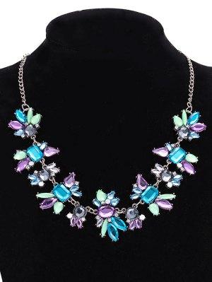 Faux Crystal Geometric Water Drop Necklace Jewelry - Purple