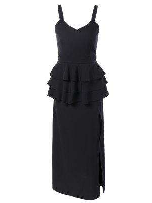 Peplum Maxi Dress - Black