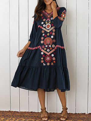 Embroidered Tiered Midi Dress - Purplish Blue