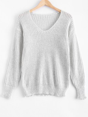 V Neck Oversized Sweater - Gray