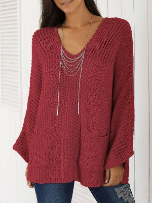 V Neck Chunky Sweater - Wine Red