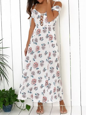 Cold Shoulder Maxi Dress - White