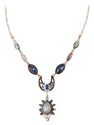 Rhinestone Water Drop Moon Pendant Necklace - Golden