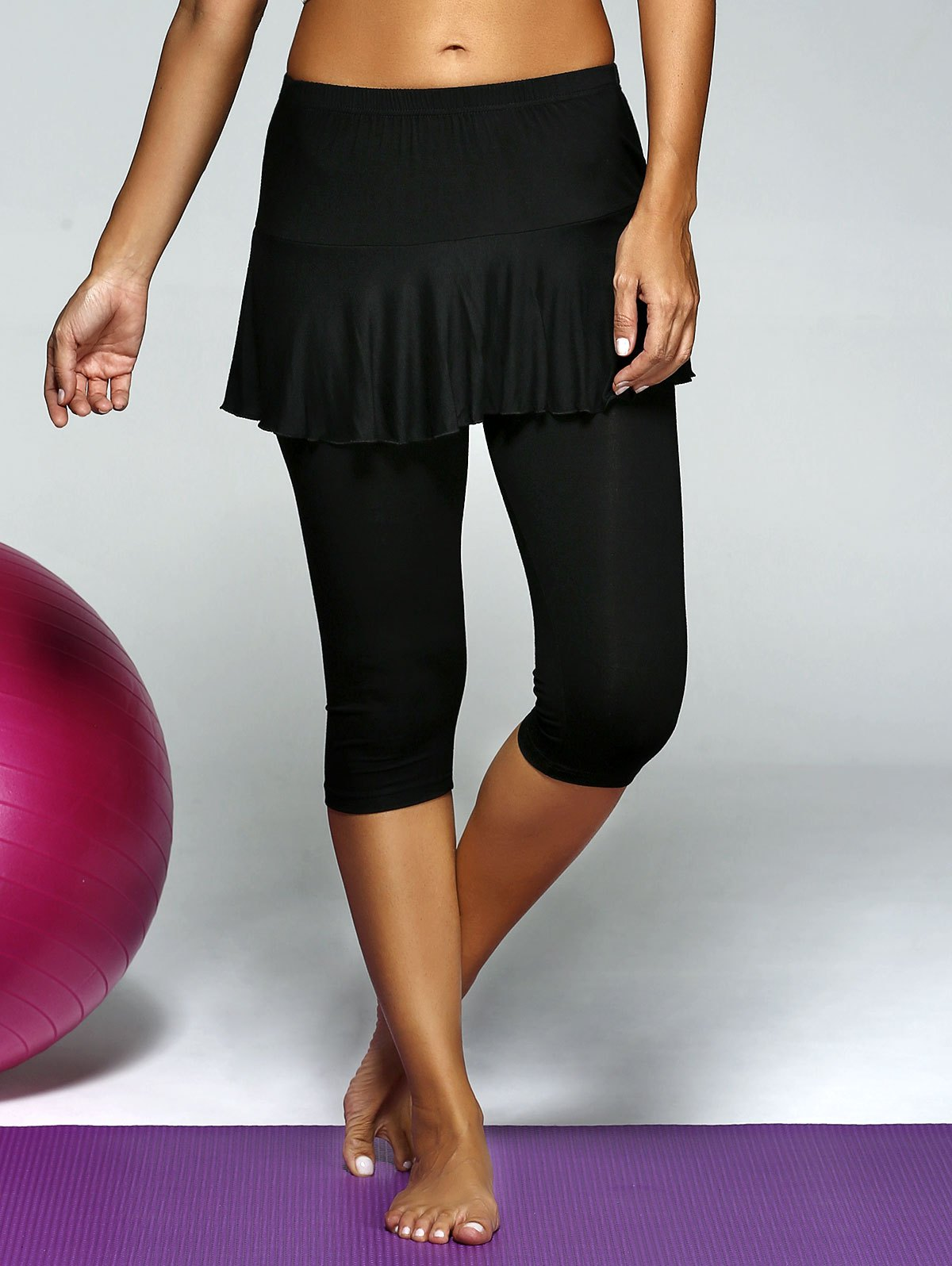 Elastic Waist Skinny Skirt Capri Gym PantsClothes<br><br><br>Size: L<br>Color: BLACK