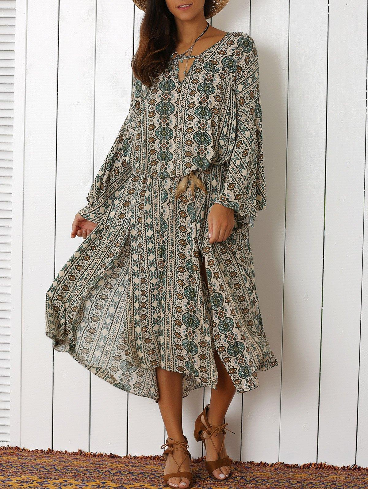 V-Neck Bell Sleeve Tribal Pattern Print Dress