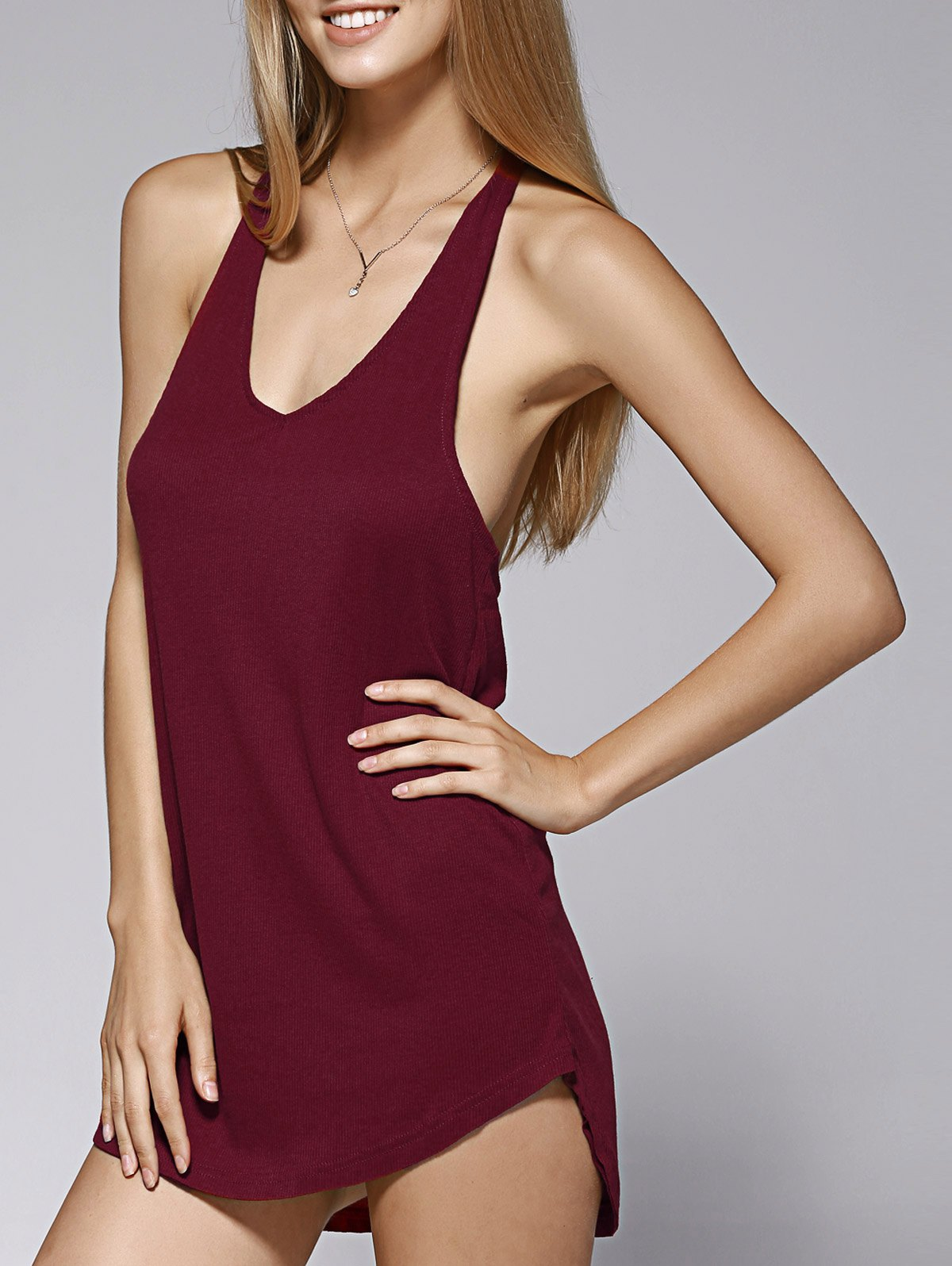 T Back Solid Color Dress