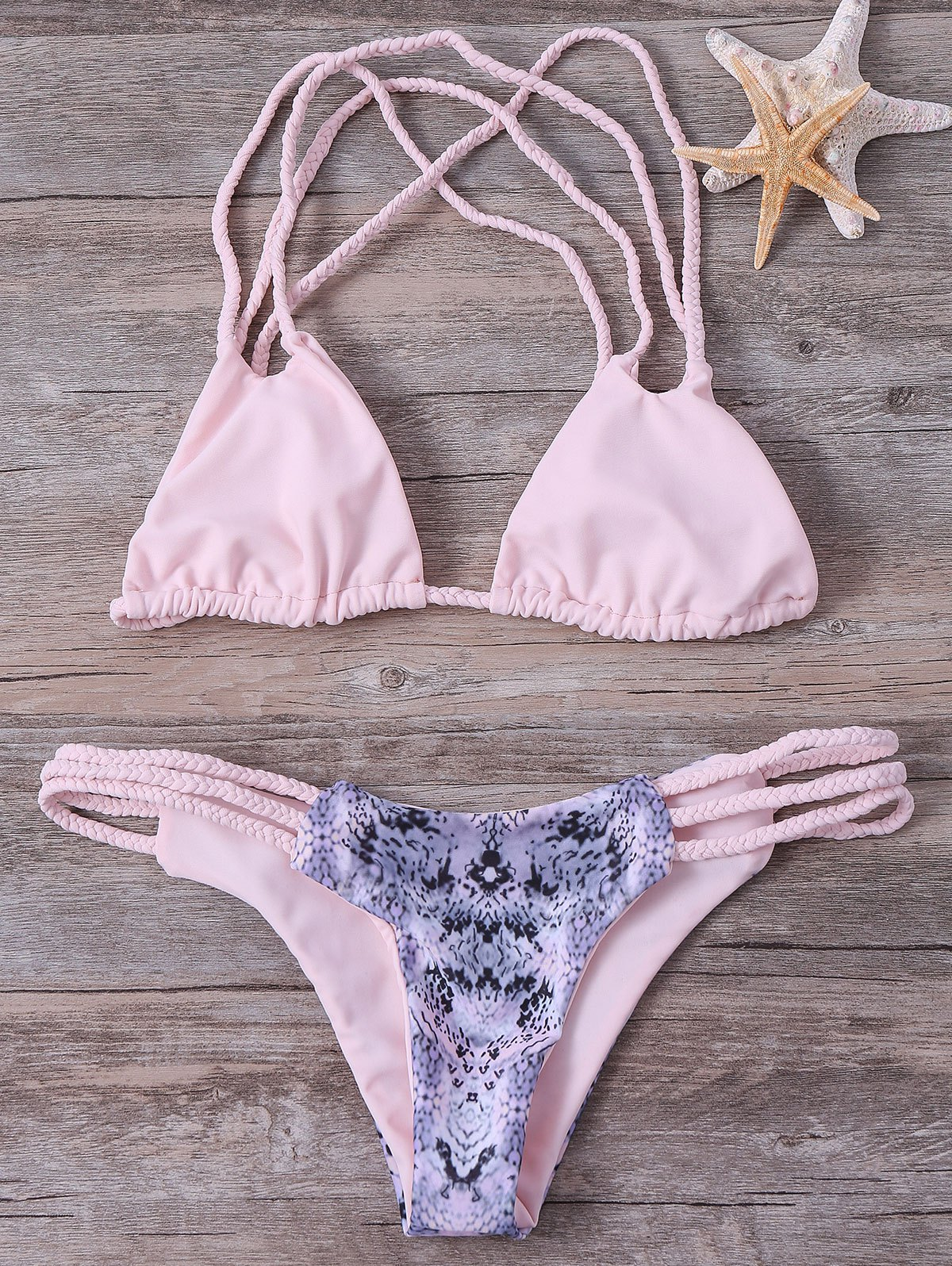 Strappy Braided Printed Bikini Set