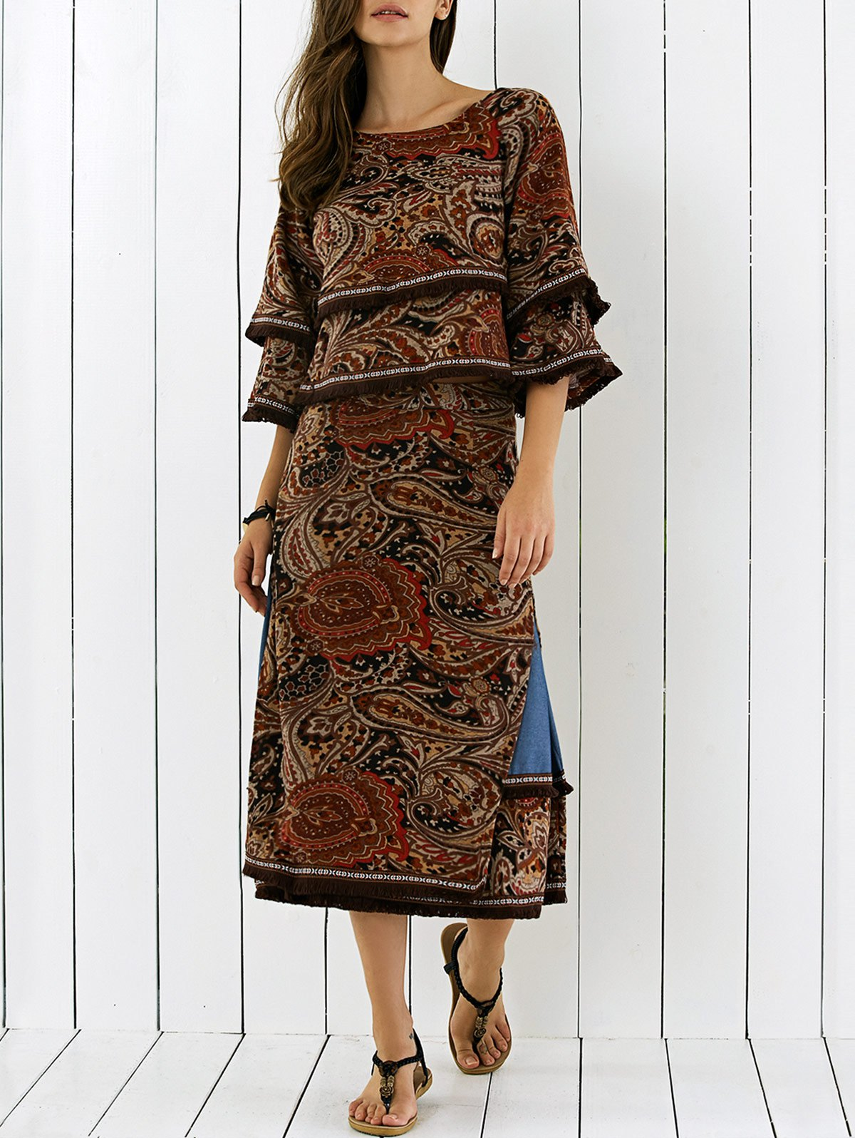 3/4 Sleeve Retro Print Side Slit Fringe Dress