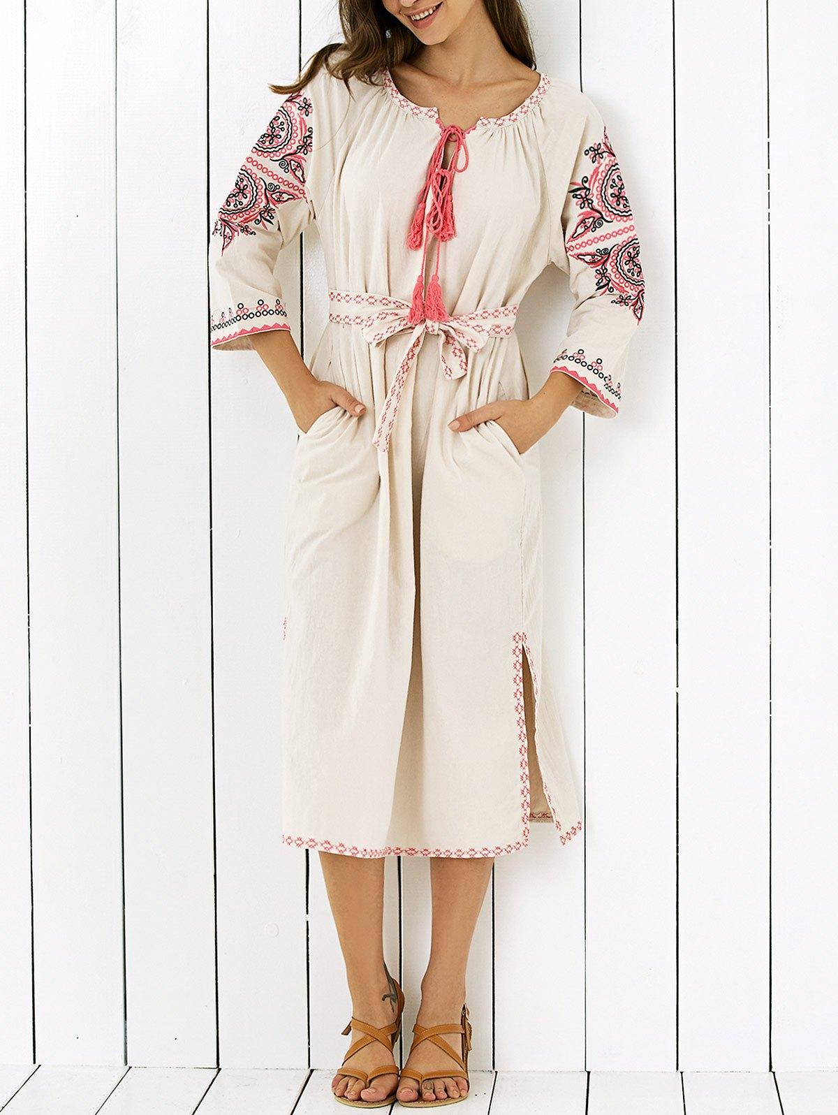 Embroidered V Neck Side Slit Maxi Dress 192800701