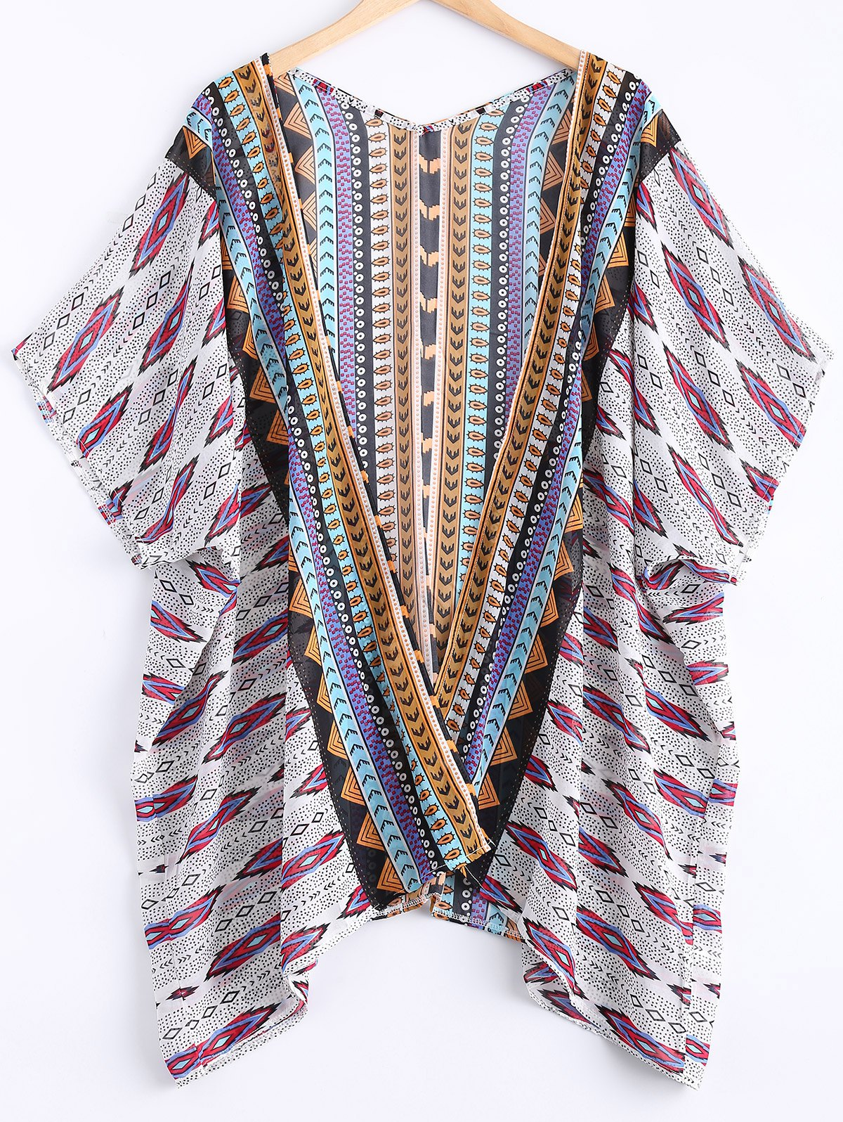 Collarless Batwing Sleeve Printed Cover Up