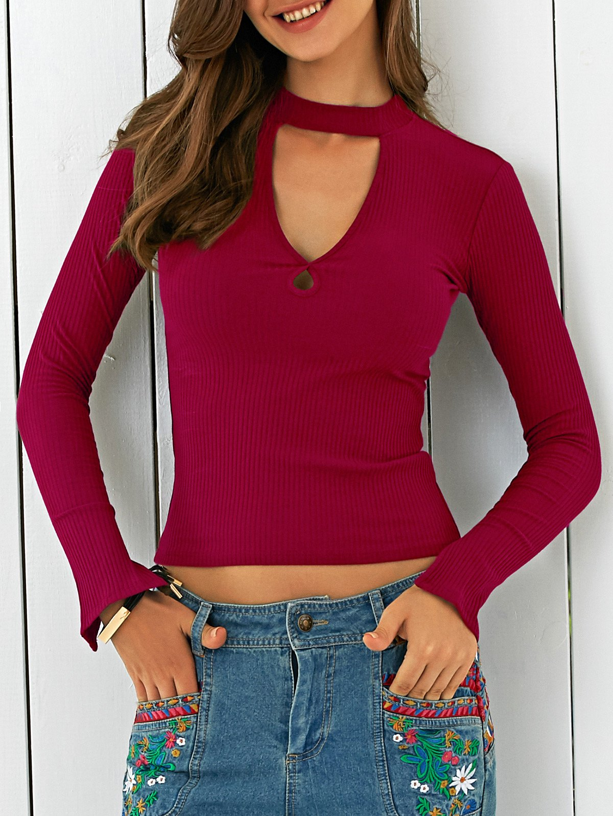 Cutout Stand Neck Solid Color T-Shirt