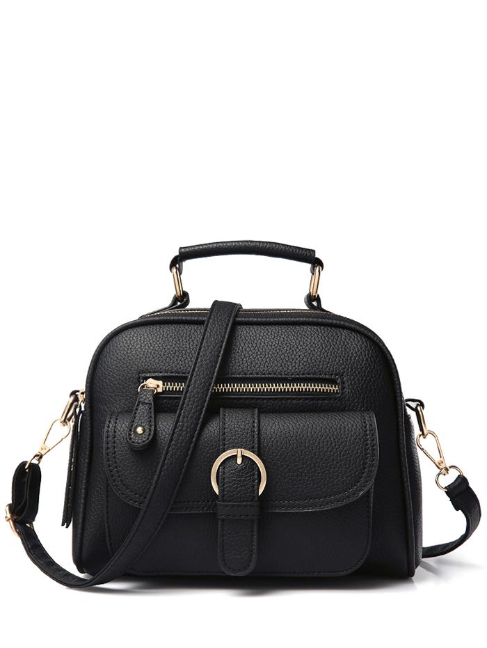 Buckle Zippers Crossbody Bag