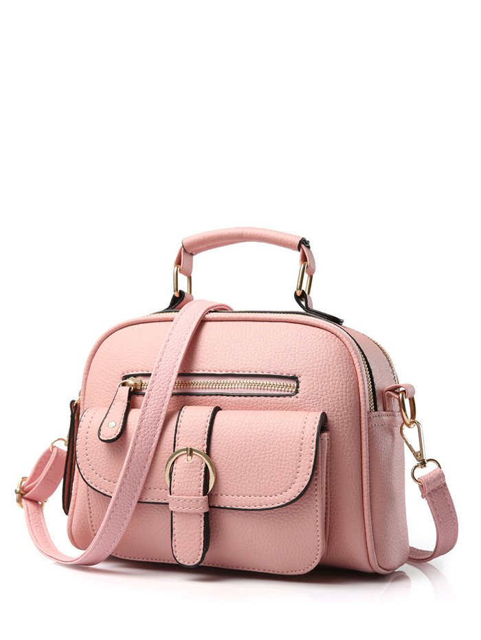 Buckle PU Leather Zippers Crossbody BagAccessories<br><br><br>Color: PINK