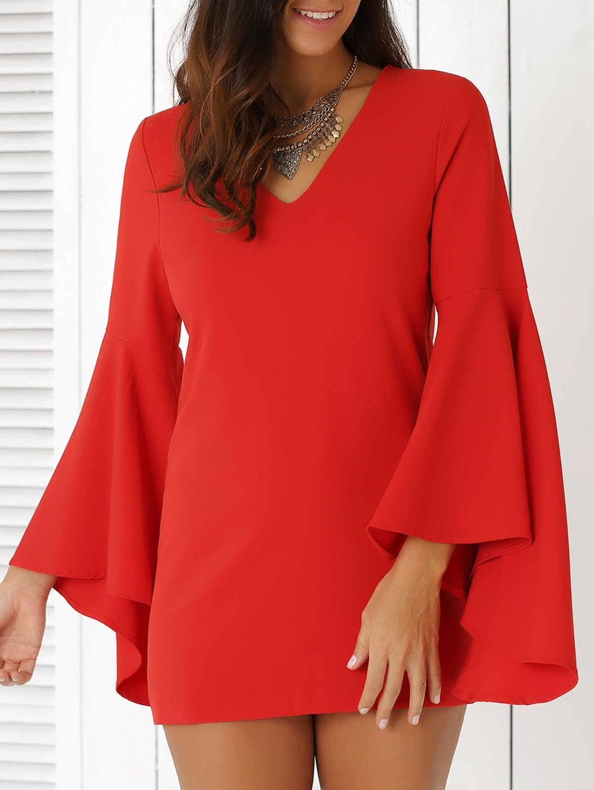 Plunging Neck Flare Sleeve Solid Color Sheath Dress