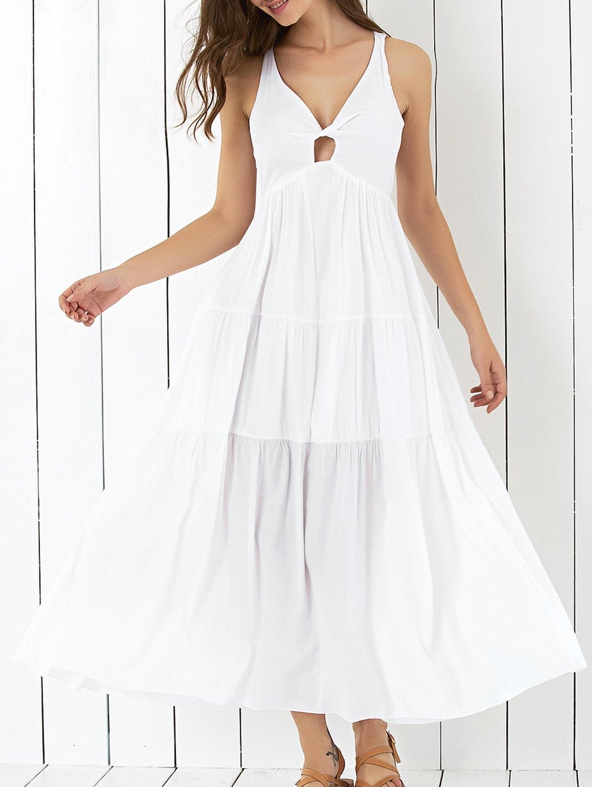 Sleeveless Cross Back Tiered Maxi Dress