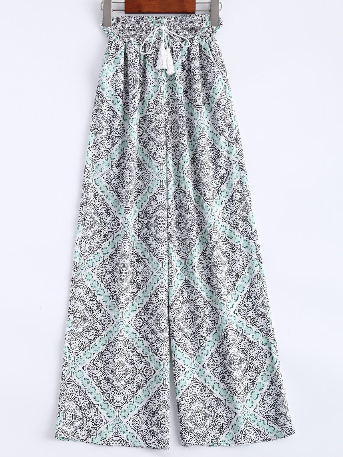 Pantaloni de damă, eleganți, evazați, cu imprimeu şi talie înaltă