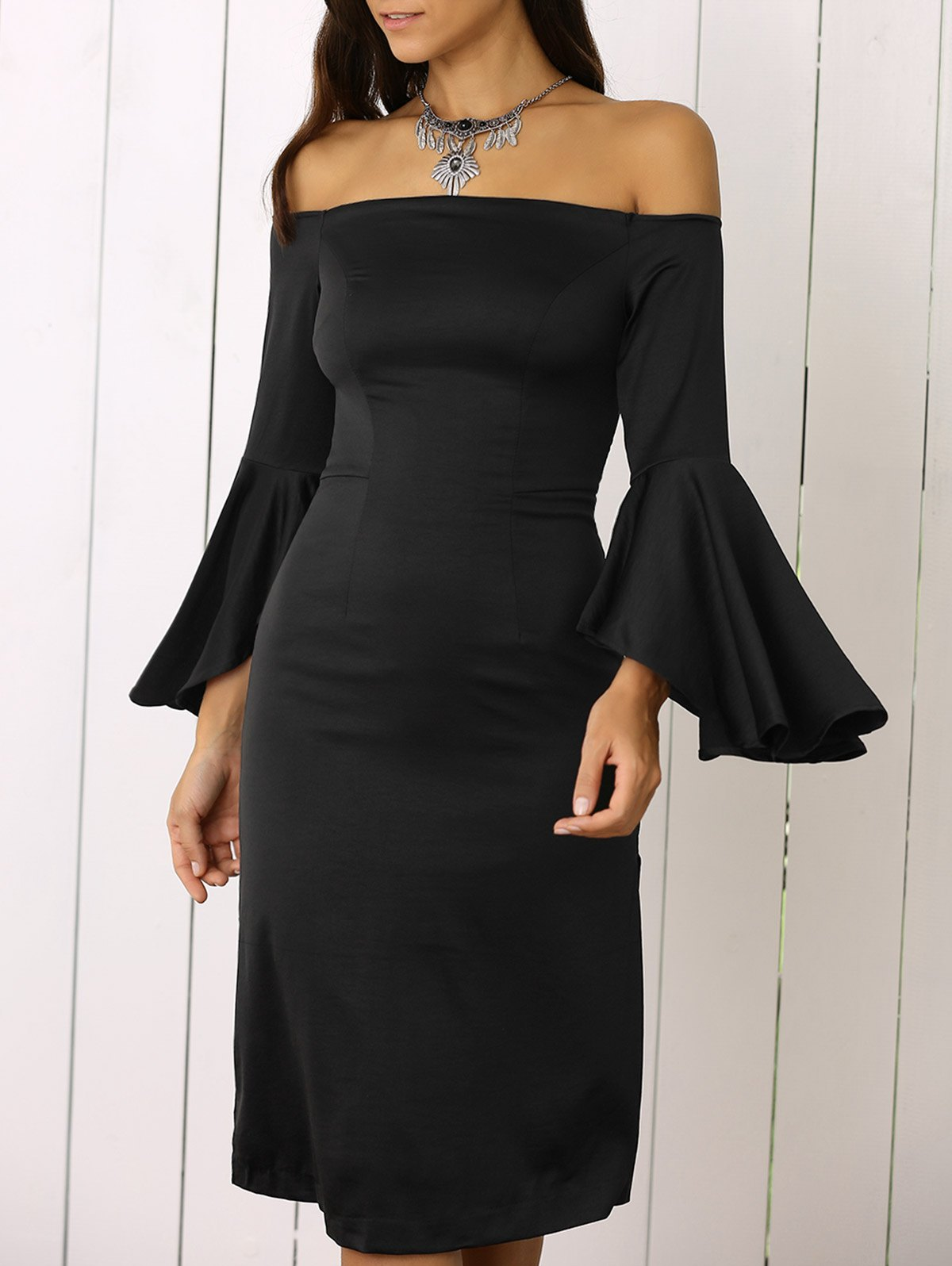 Dramatic Sleeve Off The Shoulder Sheath Dress