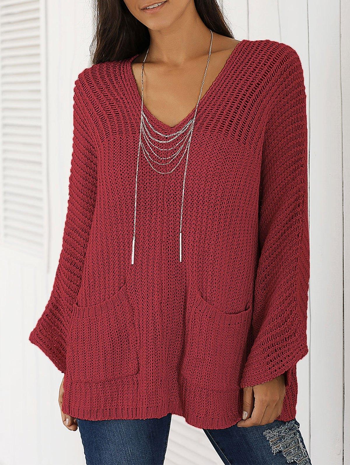 V Neck Long Sleeve Chunky Sweater